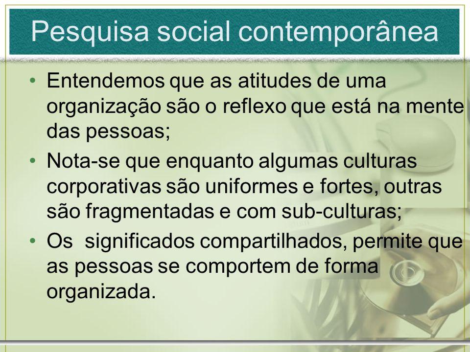 Pesquisa social contemporânea Entendemos que as atitudes de uma organização são o reflexo que está na mente das pessoas; Nota-se que enquanto algumas