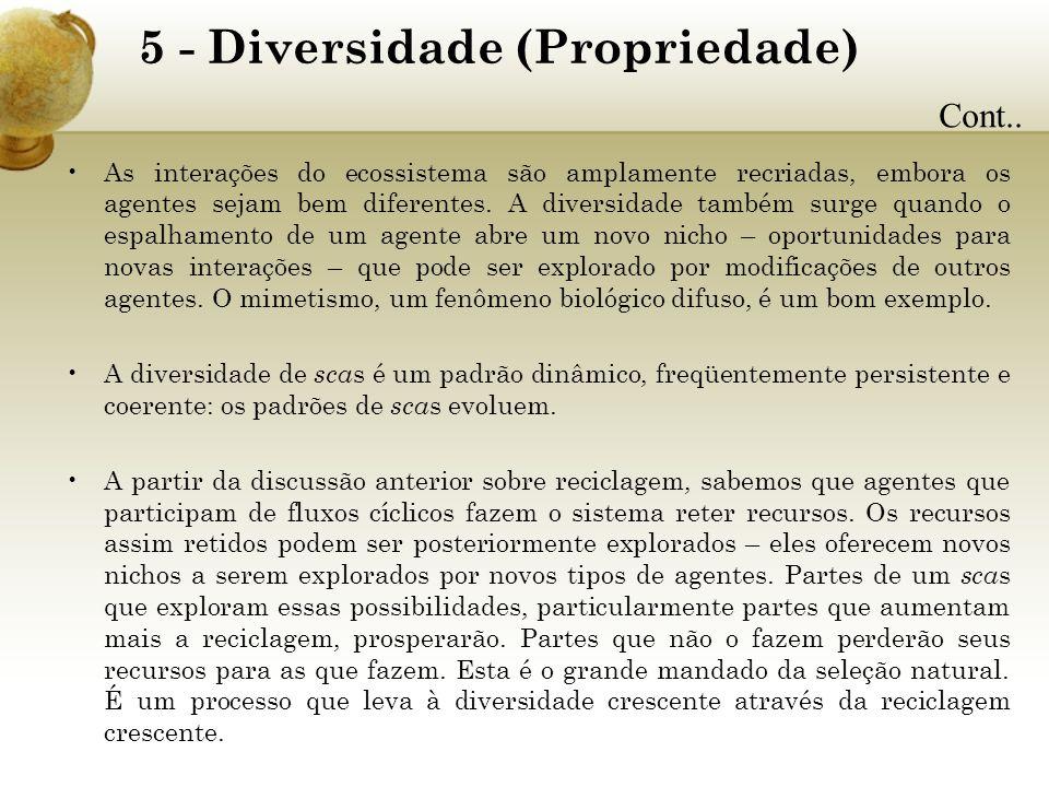 5 - Diversidade (Propriedade) As interações do ecossistema são amplamente recriadas, embora os agentes sejam bem diferentes. A diversidade também surg