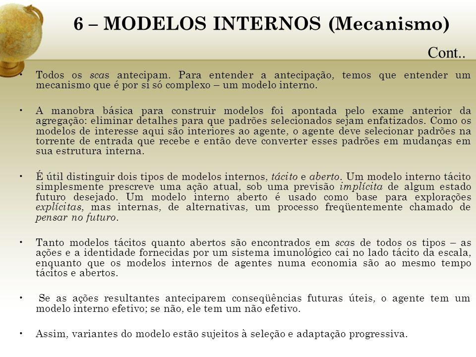 6 – MODELOS INTERNOS (Mecanismo) Todos os sca s antecipam. Para entender a antecipação, temos que entender um mecanismo que é por si só complexo – um