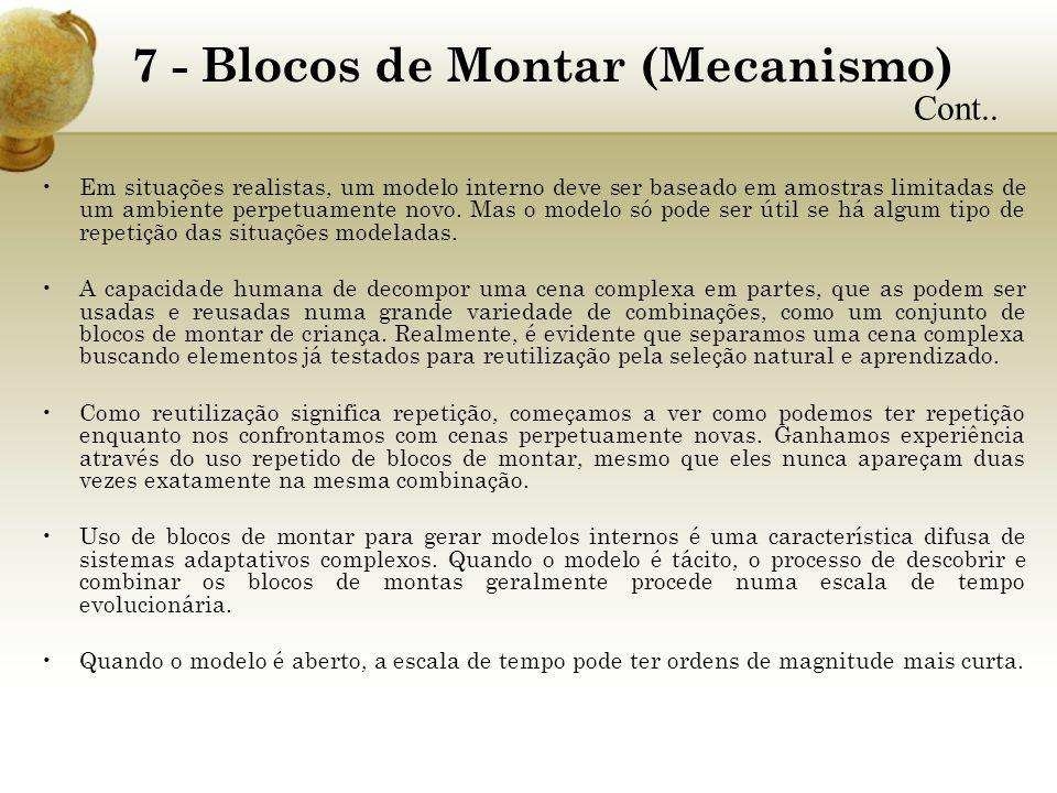 7 - Blocos de Montar (Mecanismo) Em situações realistas, um modelo interno deve ser baseado em amostras limitadas de um ambiente perpetuamente novo. M