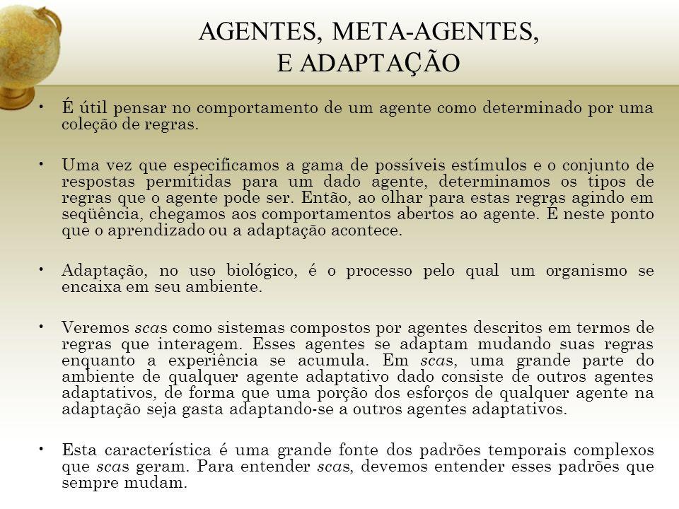 AGENTES, META-AGENTES, E ADAPTA Ç ÃO É útil pensar no comportamento de um agente como determinado por uma coleção de regras. Uma vez que especificamos