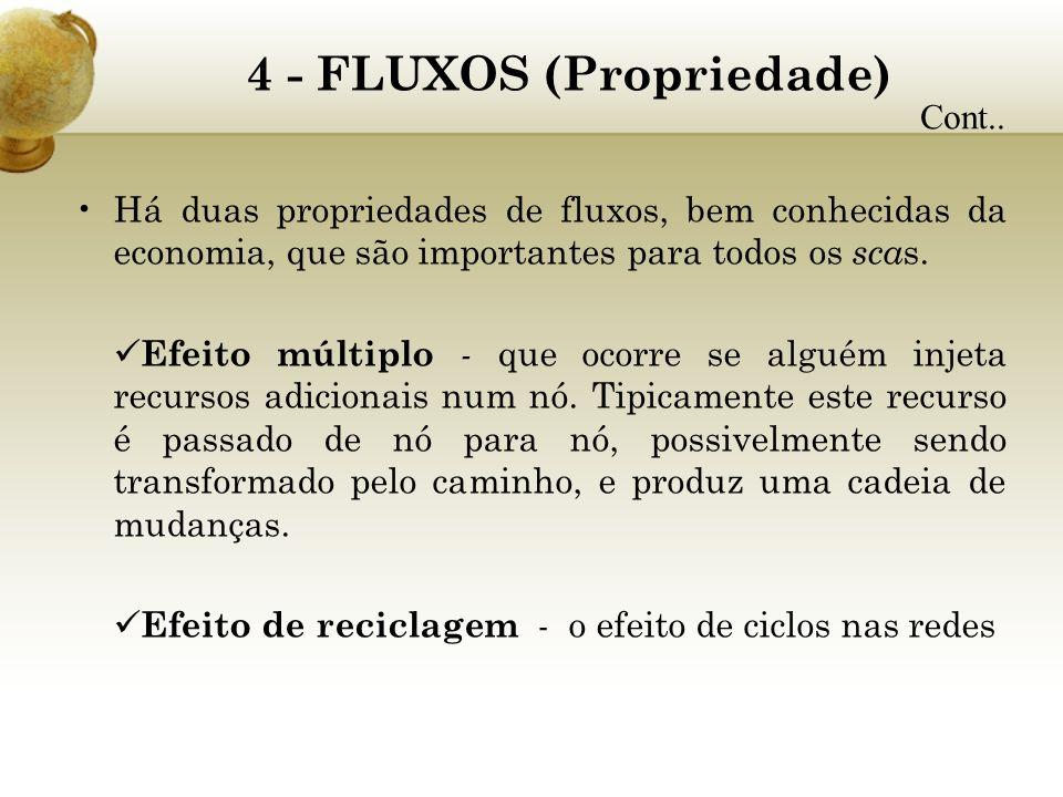 4 - FLUXOS (Propriedade) Há duas propriedades de fluxos, bem conhecidas da economia, que são importantes para todos os sca s. Efeito múltiplo - que oc