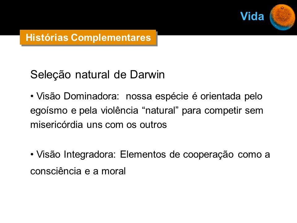 Seleção natural de Darwin Visão Dominadora: nossa espécie é orientada pelo egoísmo e pela violência natural para competir sem misericórdia uns com os