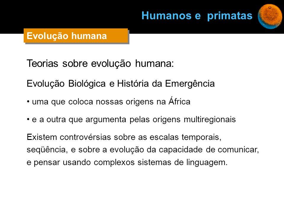 Teorias sobre evolução humana: Evolução Biológica e História da Emergência uma que coloca nossas origens na África e a outra que argumenta pelas orige