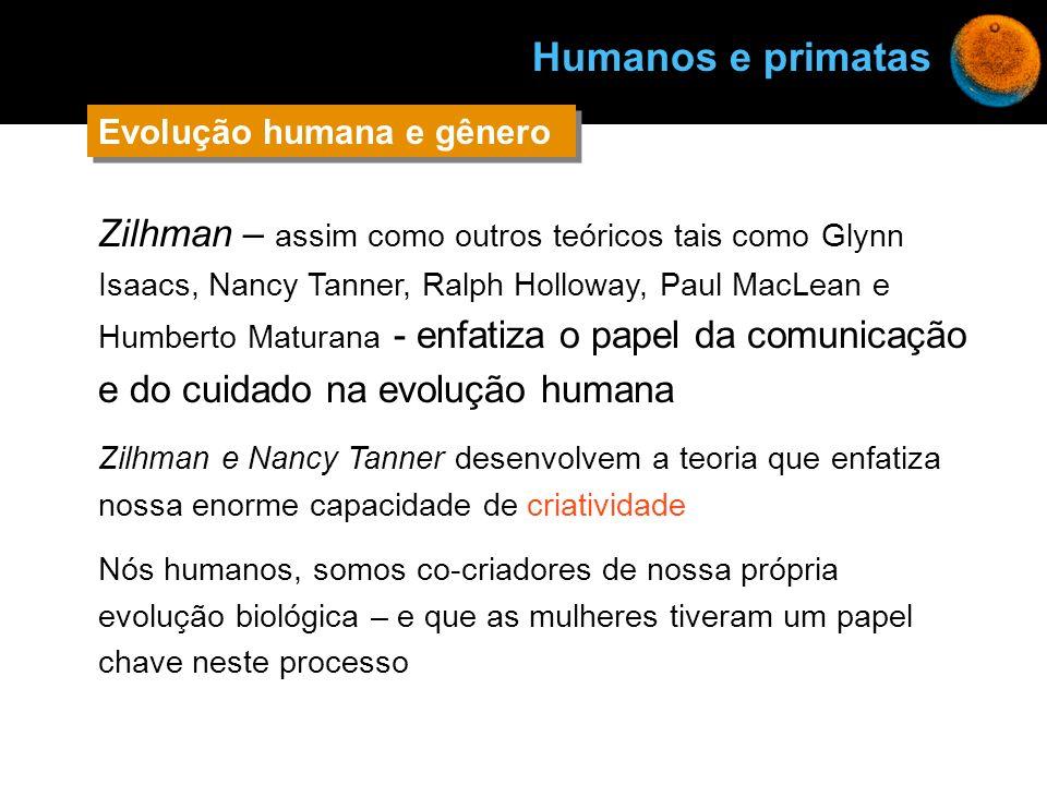 Zilhman – assim como outros teóricos tais como Glynn Isaacs, Nancy Tanner, Ralph Holloway, Paul MacLean e Humberto Maturana - enfatiza o papel da comu