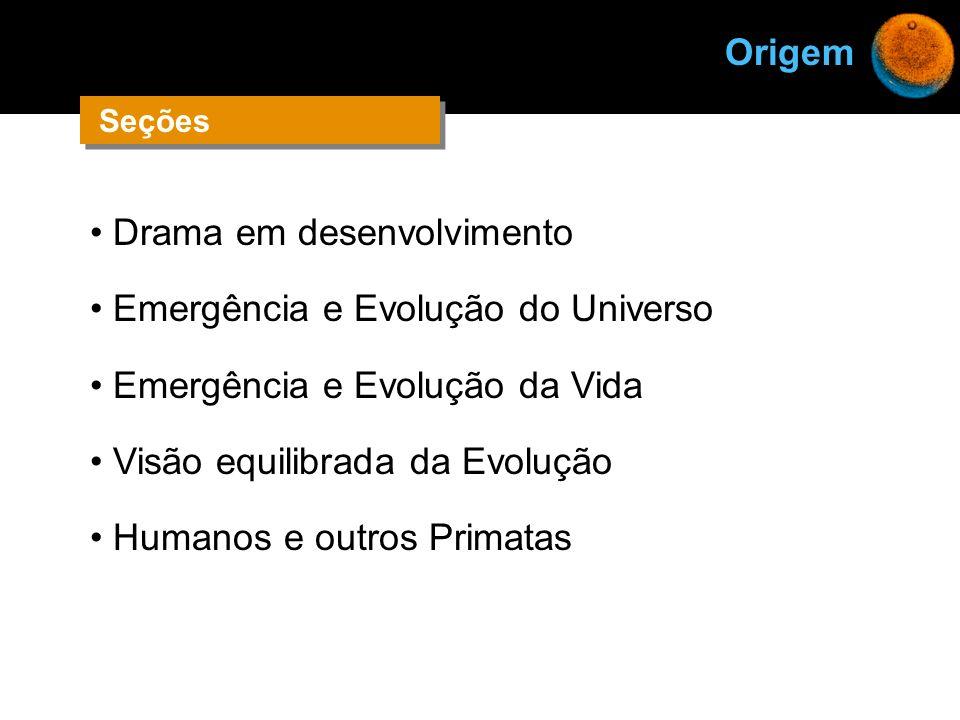 Drama em desenvolvimento Emergência e Evolução do Universo Emergência e Evolução da Vida Visão equilibrada da Evolução Humanos e outros Primatas Orige