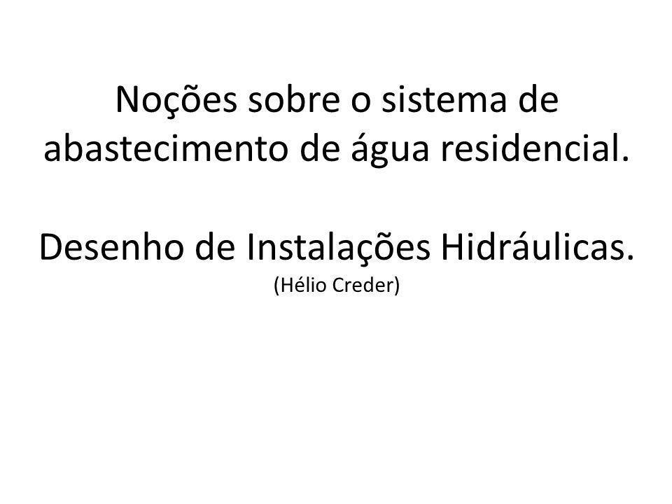Noções sobre o sistema de abastecimento de água residencial. Desenho de Instalações Hidráulicas. (Hélio Creder)