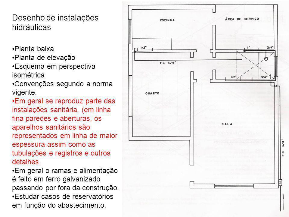 Desenho de instalações hidráulicas Planta baixa Planta de elevação Esquema em perspectiva isométrica Convenções segundo a norma vigente. Em geral se r