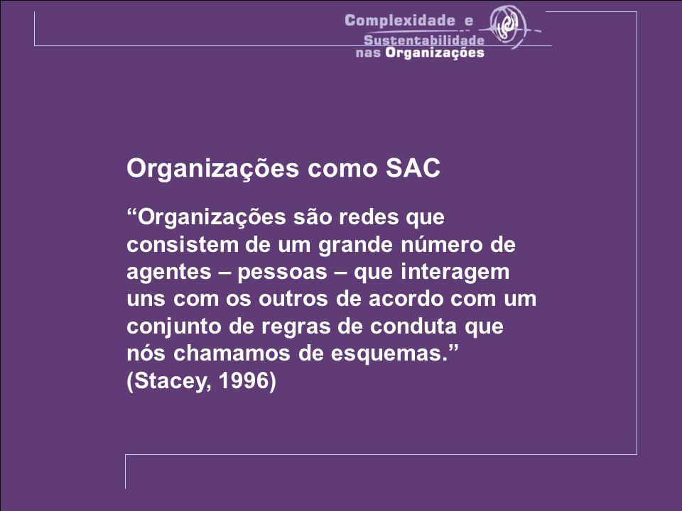 Organizações como SAC Organizações são redes que consistem de um grande número de agentes – pessoas – que interagem uns com os outros de acordo com um conjunto de regras de conduta que nós chamamos de esquemas.