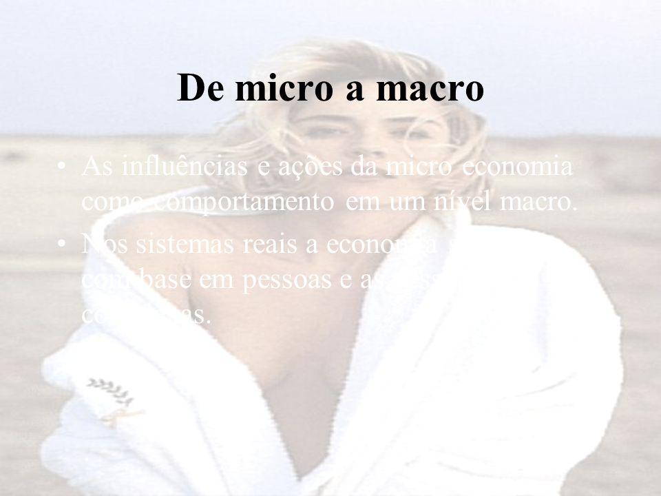 De micro a macro As influências e ações da micro economia como comportamento em um nível macro.