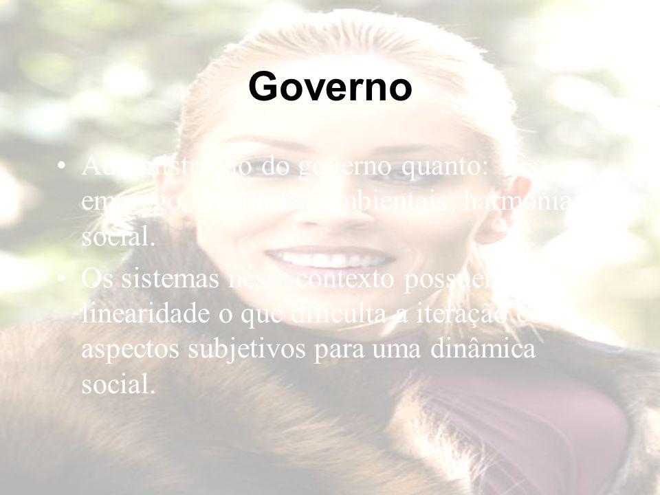 Governo Administração do governo quanto: emprego, melhorias ambientais, harmonia social.