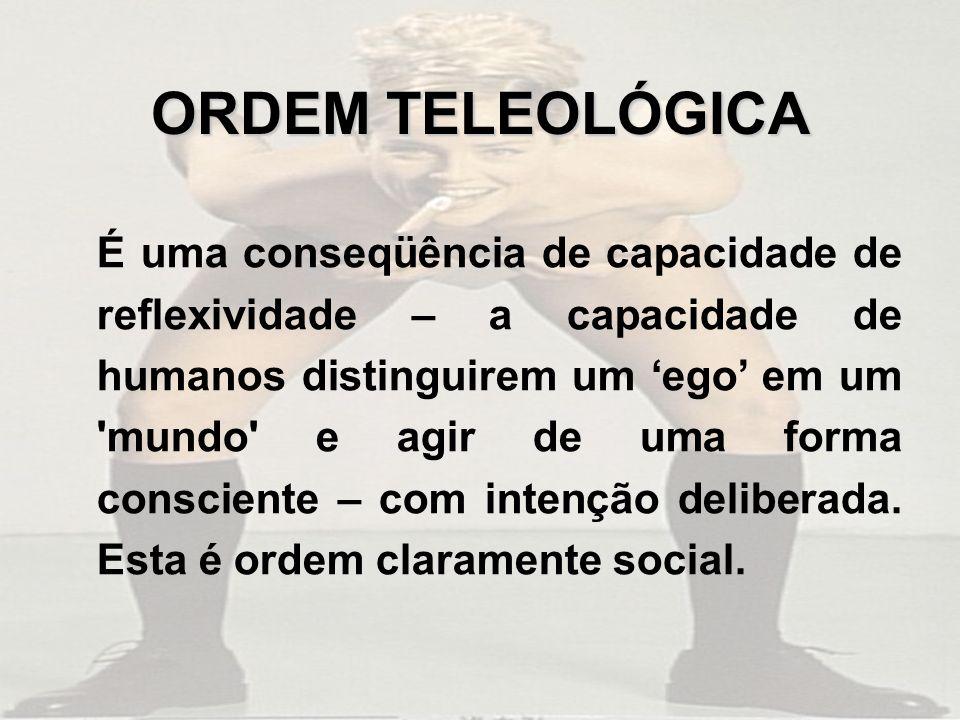 ORDEM TELEOLÓGICA É uma conseqüência de capacidade de reflexividade – a capacidade de humanos distinguirem um ego em um mundo e agir de uma forma consciente – com intenção deliberada.