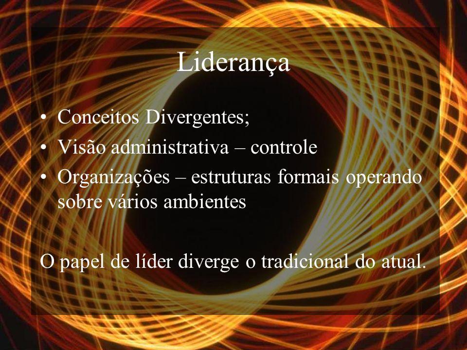 Liderança Conceitos Divergentes; Visão administrativa – controle Organizações – estruturas formais operando sobre vários ambientes O papel de líder diverge o tradicional do atual.