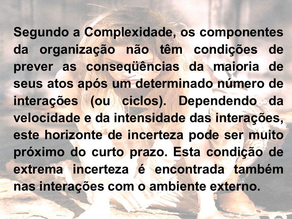 Segundo a Complexidade, os componentes da organização não têm condições de prever as conseqüências da maioria de seus atos após um determinado número de interações (ou ciclos).