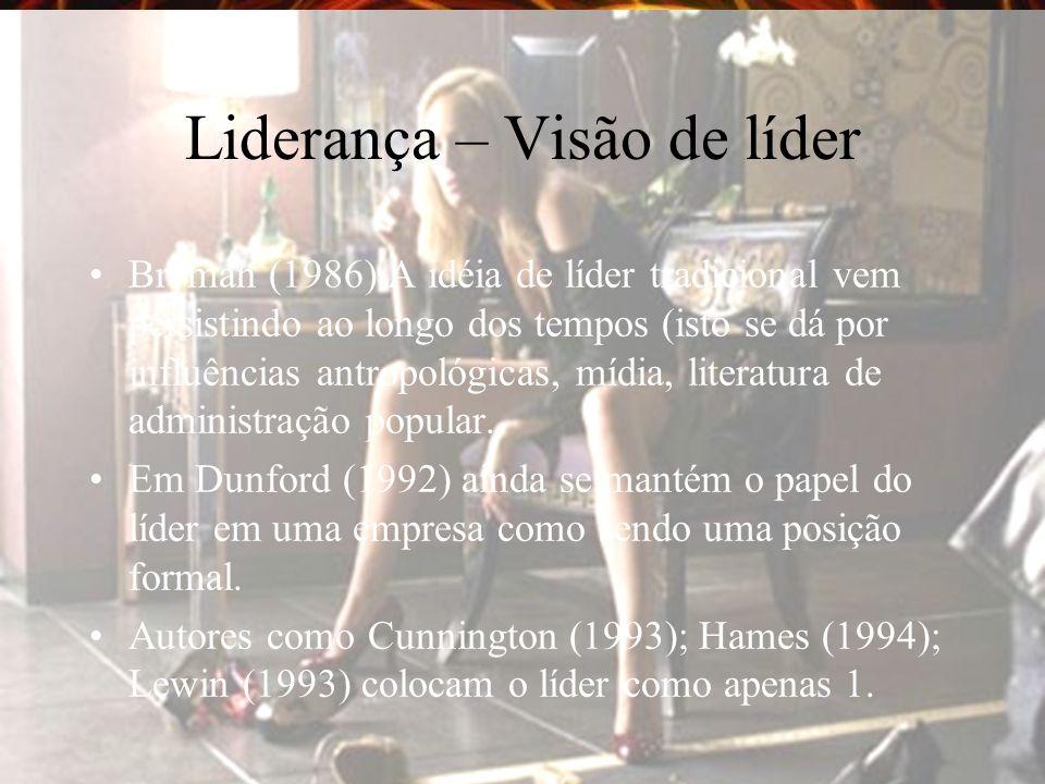 Liderança – Visão de líder Bryman (1986) A idéia de líder tradicional vem persistindo ao longo dos tempos (isto se dá por influências antropológicas, mídia, literatura de administração popular.