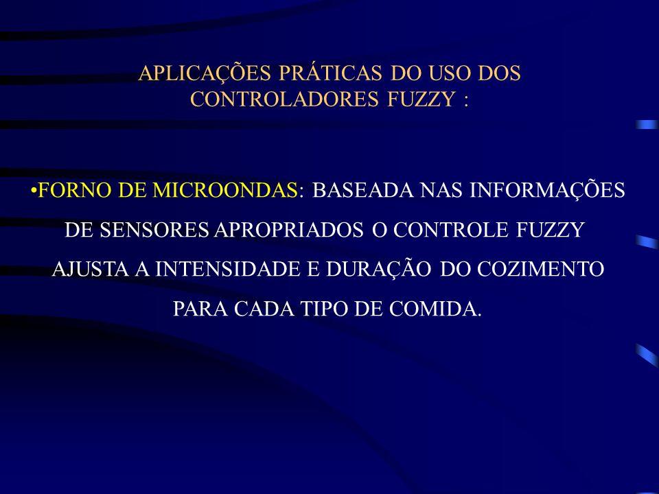 APLICAÇÕES PRÁTICAS DO USO DOS CONTROLADORES FUZZY : FORNO DE MICROONDAS: BASEADA NAS INFORMAÇÕES DE SENSORES APROPRIADOS O CONTROLE FUZZY AJUSTA A IN