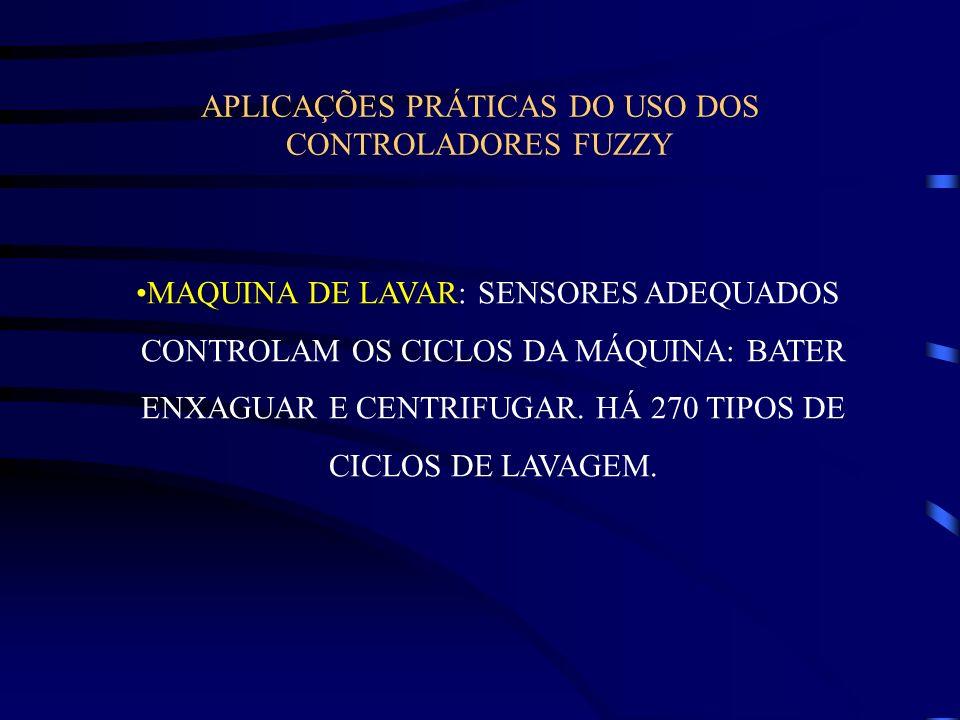 APLICAÇÕES PRÁTICAS DO USO DOS CONTROLADORES FUZZY MAQUINA DE LAVAR: SENSORES ADEQUADOS CONTROLAM OS CICLOS DA MÁQUINA: BATER ENXAGUAR E CENTRIFUGAR.