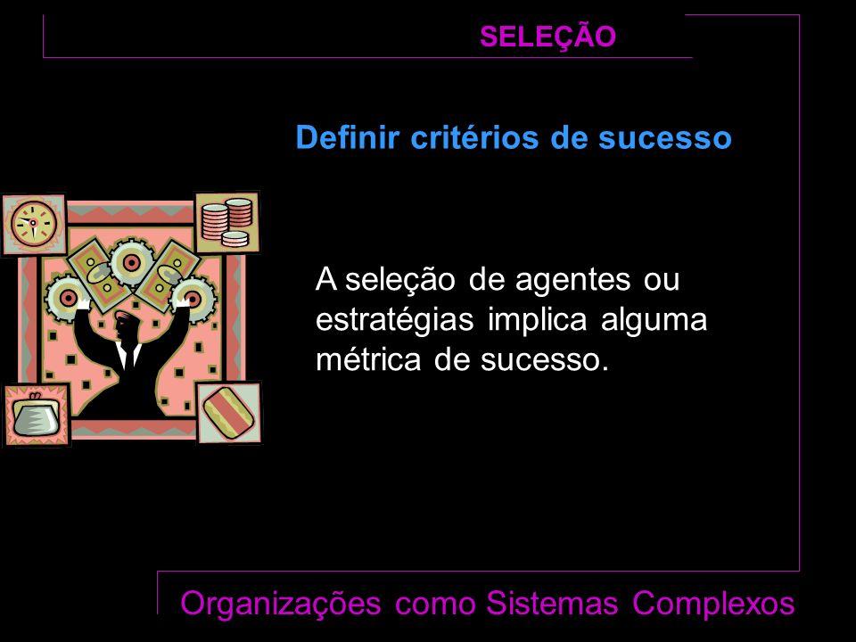 SELEÇÃO Organizações como Sistemas Complexos Definir critérios de sucesso A seleção de agentes ou estratégias implica alguma métrica de sucesso.