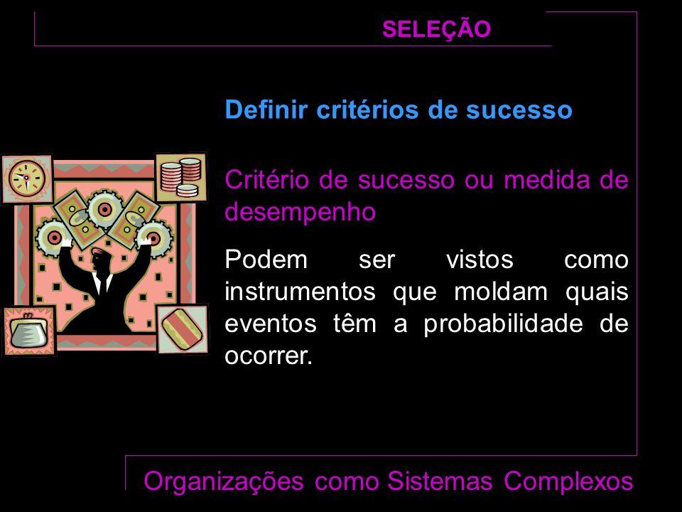 Critério de sucesso ou medida de desempenho Podem ser vistos como instrumentos que moldam quais eventos têm a probabilidade de ocorrer.