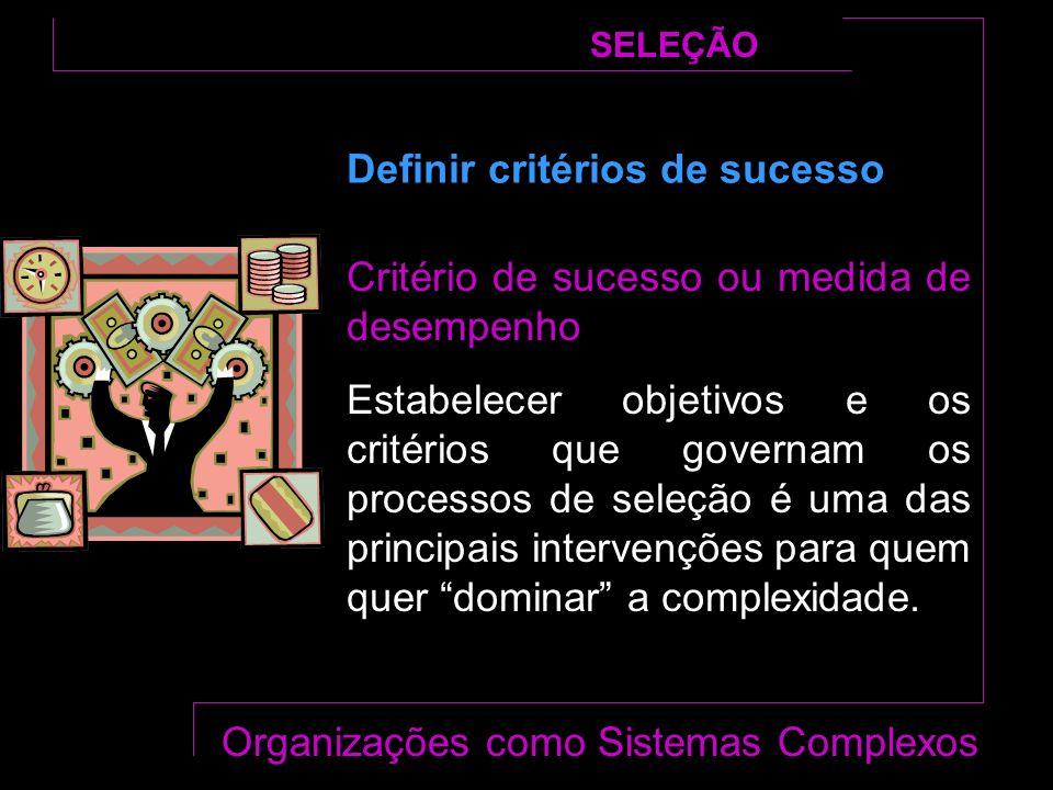 Critério de sucesso ou medida de desempenho Estabelecer objetivos e os critérios que governam os processos de seleção é uma das principais intervenções para quem quer dominar a complexidade.