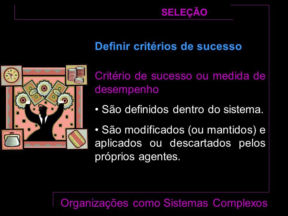 Critério de sucesso ou medida de desempenho São definidos dentro do sistema.