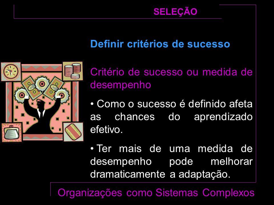 Critério de sucesso ou medida de desempenho Como o sucesso é definido afeta as chances do aprendizado efetivo.