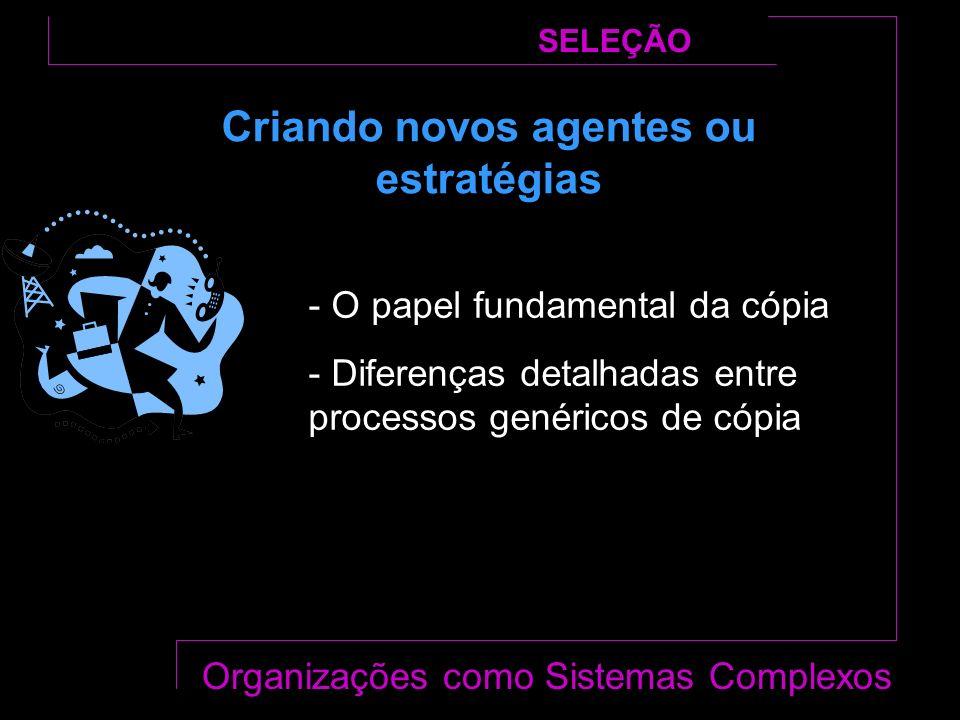 Criando novos agentes ou estratégias SELEÇÃO Organizações como Sistemas Complexos - O papel fundamental da cópia - Diferenças detalhadas entre processos genéricos de cópia