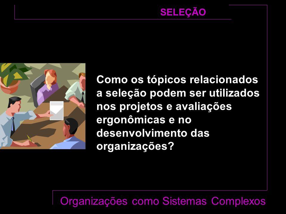 Como os tópicos relacionados a seleção podem ser utilizados nos projetos e avaliações ergonômicas e no desenvolvimento das organizações.