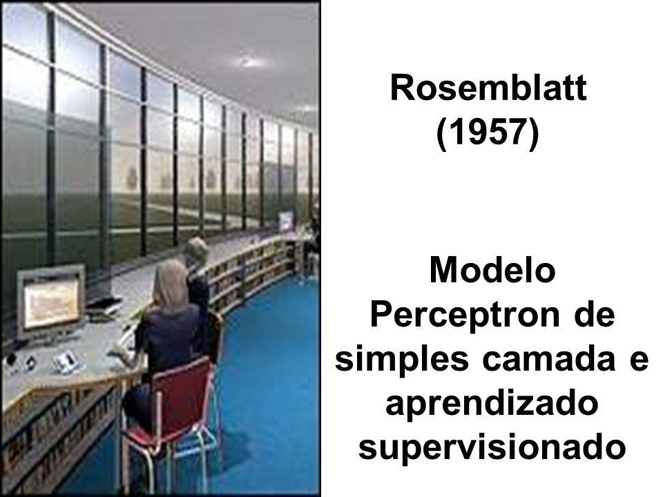 Rosemblatt (1957) Modelo Perceptron de simples camada e aprendizado supervisionado