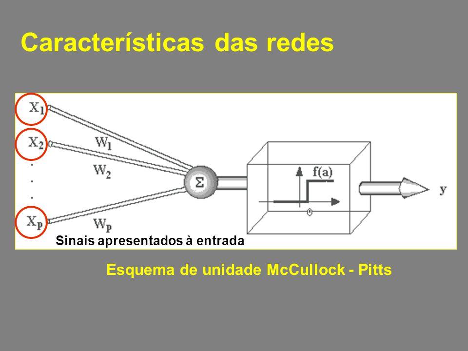 Características das redes Esquema de unidade McCullock - Pitts Sinais apresentados à entrada