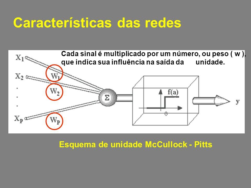 Características das redes Esquema de unidade McCullock - Pitts Cada sinal é multiplicado por um número, ou peso ( w ), que indica sua influência na saída da unidade.