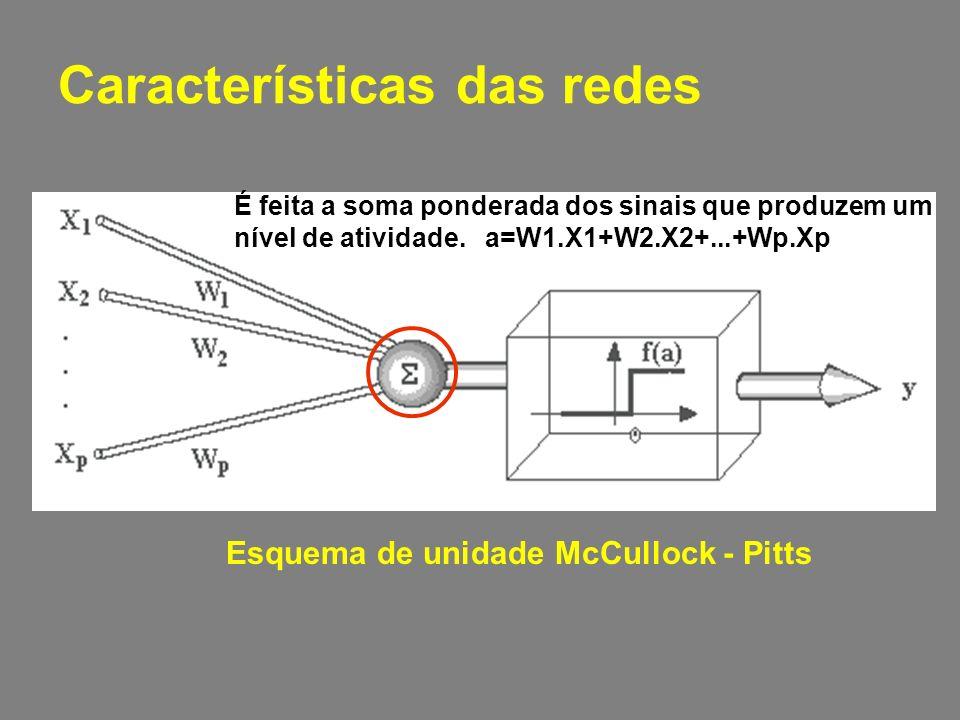 Características das redes Esquema de unidade McCullock - Pitts É feita a soma ponderada dos sinais que produzem um nível de atividade.