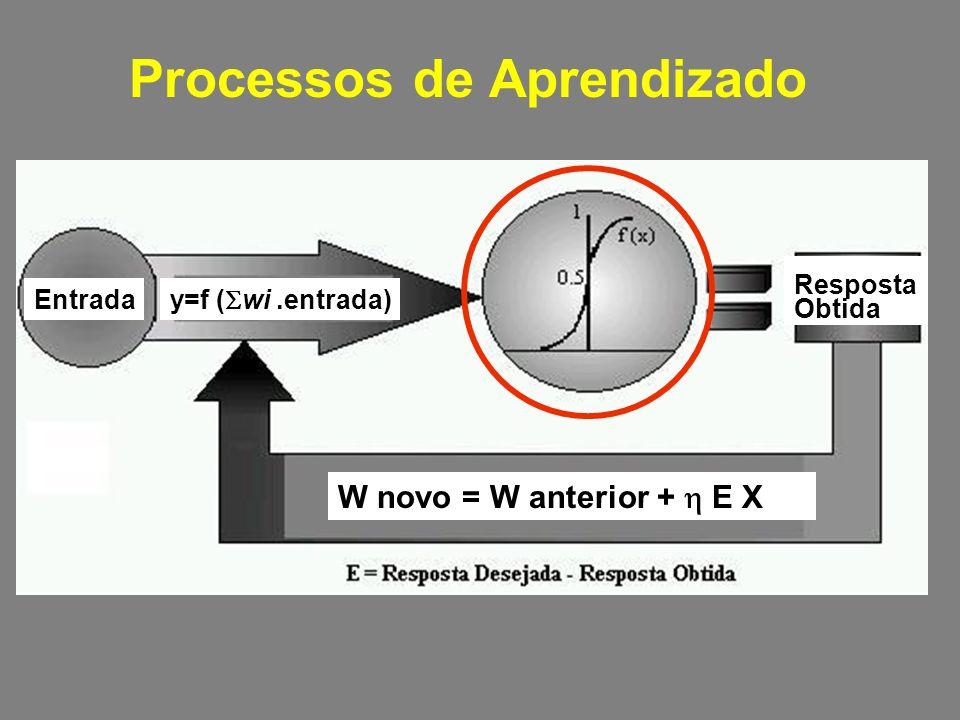 Processos de Aprendizado W novo = W anterior + E X y=f ( wi.entrada) Entrada Resposta Obtida