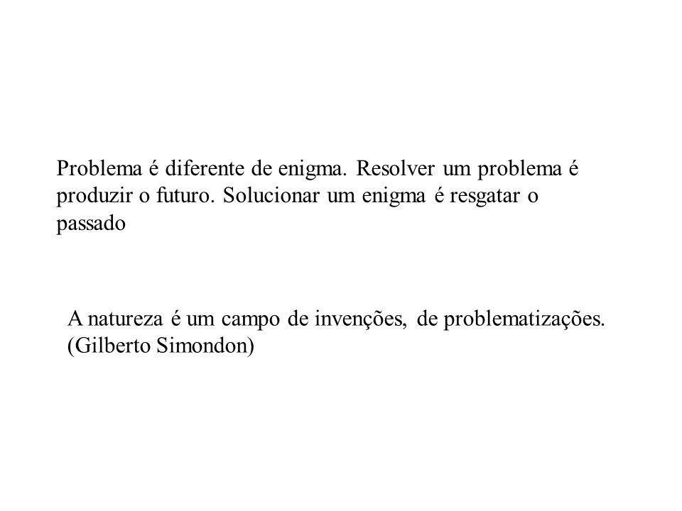 Problema é diferente de enigma. Resolver um problema é produzir o futuro.
