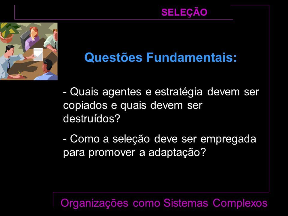Questões Fundamentais: SELEÇÃO Organizações como Sistemas Complexos - Quais agentes e estratégia devem ser copiados e quais devem ser destruídos.