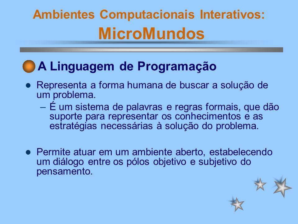 Ambientes Computacionais Interativos: MicroMundos Representa a forma humana de buscar a solução de um problema. –É um sistema de palavras e regras for