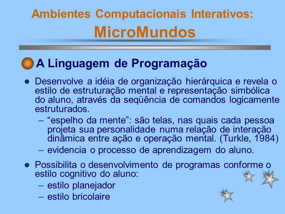 Ambientes Computacionais Interativos: MicroMundos Desenvolve a idéia de organização hierárquica e revela o estilo de estruturação mental e representaç