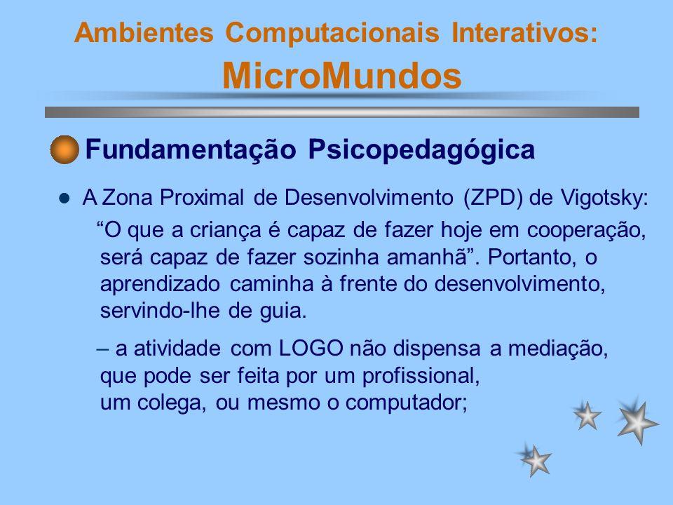 Ambientes Computacionais Interativos: MicroMundos Fundamentação Psicopedagógica A Zona Proximal de Desenvolvimento (ZPD) de Vigotsky: O que a criança