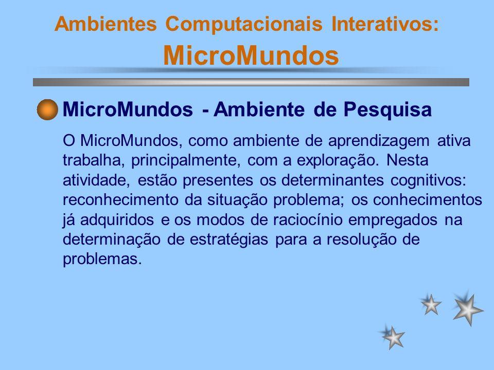 Ambientes Computacionais Interativos: MicroMundos MicroMundos - Ambiente de Pesquisa O MicroMundos, como ambiente de aprendizagem ativa trabalha, prin