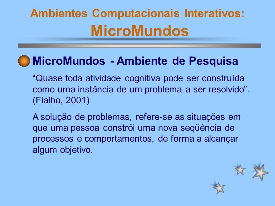 Ambientes Computacionais Interativos: MicroMundos MicroMundos - Ambiente de Pesquisa Quase toda atividade cognitiva pode ser construída como uma instâ