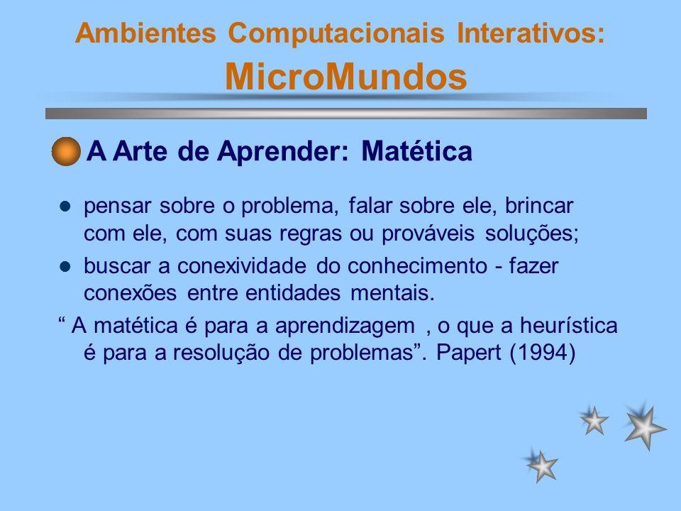 Ambientes Computacionais Interativos: MicroMundos pensar sobre o problema, falar sobre ele, brincar com ele, com suas regras ou prováveis soluções; bu