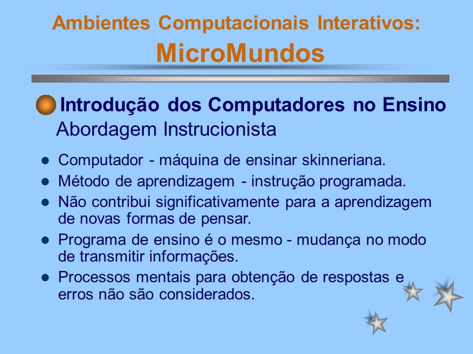 Ambientes Computacionais Interativos: MicroMundos Computador - máquina de ensinar skinneriana. Método de aprendizagem - instrução programada. Não cont