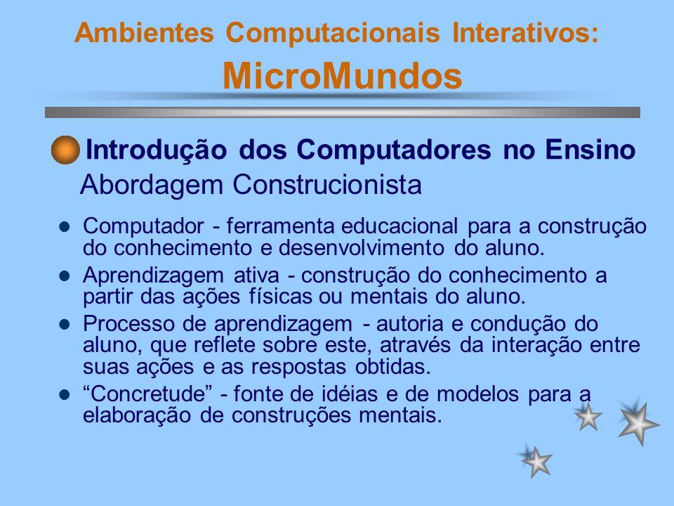 Ambientes Computacionais Interativos: MicroMundos Computador - ferramenta educacional para a construção do conhecimento e desenvolvimento do aluno. Ap