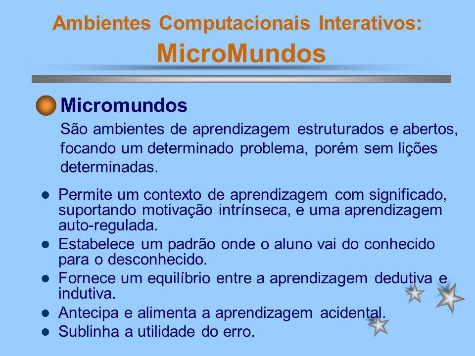 Ambientes Computacionais Interativos: MicroMundos Permite um contexto de aprendizagem com significado, suportando motivação intrínseca, e uma aprendiz
