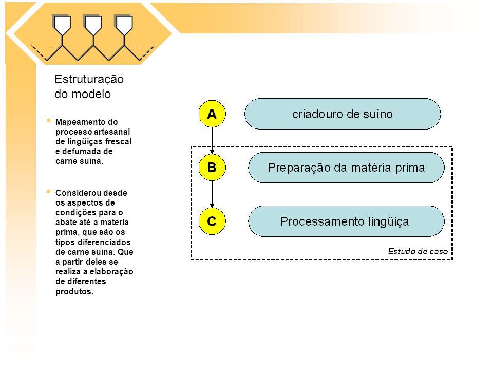 Mapeamento do processo artesanal de lingüiças frescal e defumada de carne suína. Considerou desde os aspectos de condições para o abate até a matéria