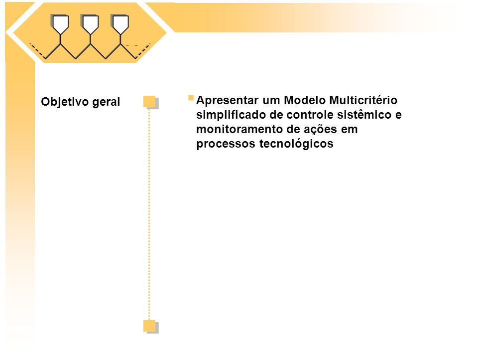 Apresentar um Modelo Multicritério simplificado de controle sistêmico e monitoramento de ações em processos tecnológicos Objetivo geral