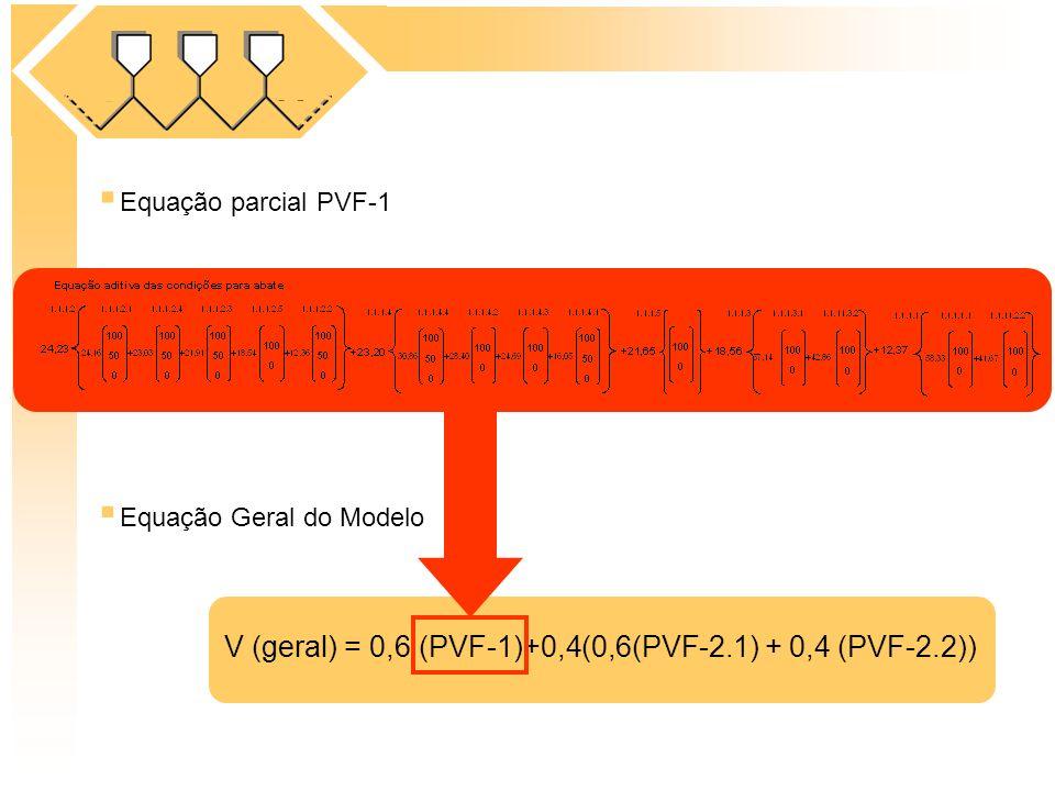 Equação Geral do Modelo Equação parcial PVF-1 V (geral) = 0,6 (PVF-1)+0,4(0,6(PVF-2.1) + 0,4 (PVF-2.2))