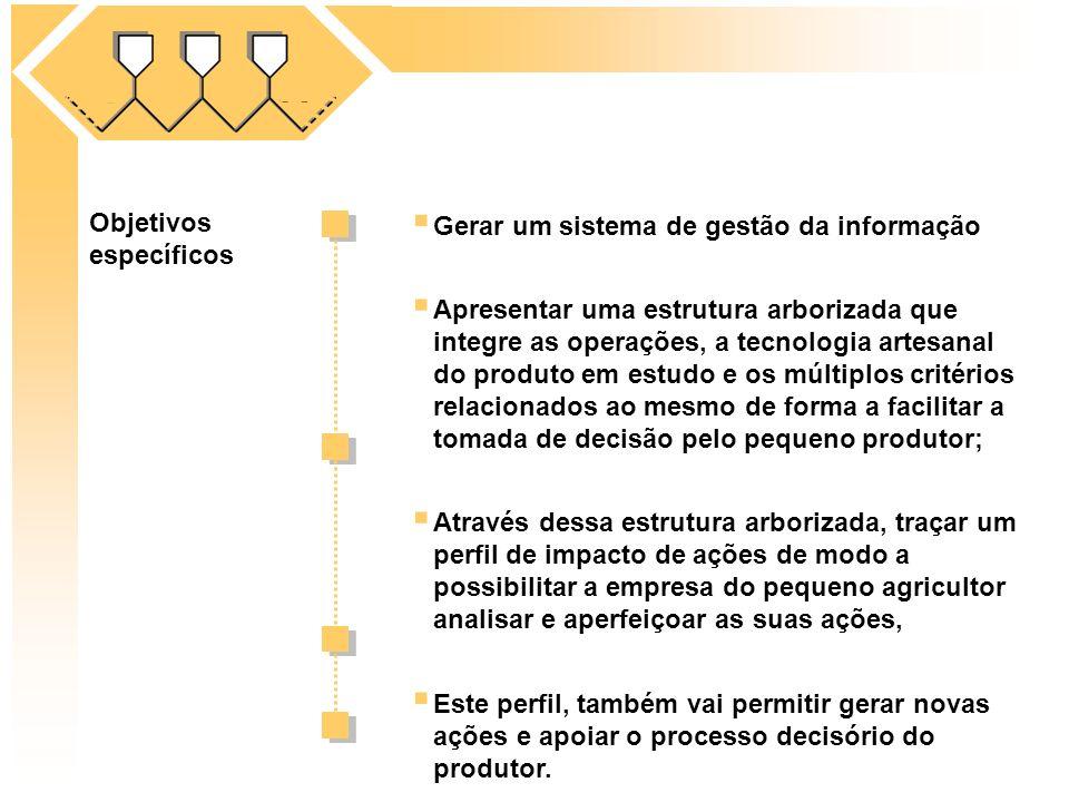 Objetivos específicos Gerar um sistema de gestão da informação Através dessa estrutura arborizada, traçar um perfil de impacto de ações de modo a poss