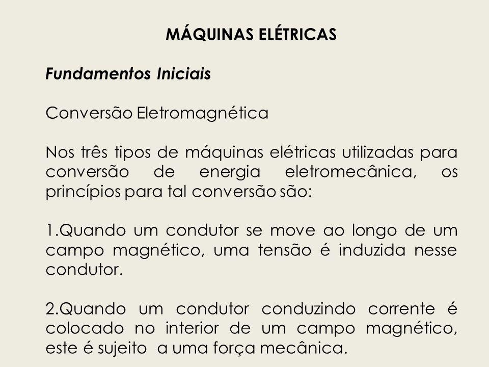 MÁQUINAS ELÉTRICAS Fundamentos Iniciais Conversão Eletromagnética Estes dois efeitos ocorrem simultaneamente se a energia está sendo transformada de mecânica para elétrica ou de elétrica para mecânica.