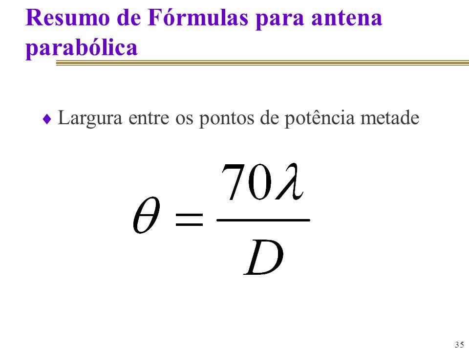 35 Resumo de Fórmulas para antena parabólica Largura entre os pontos de potência metade